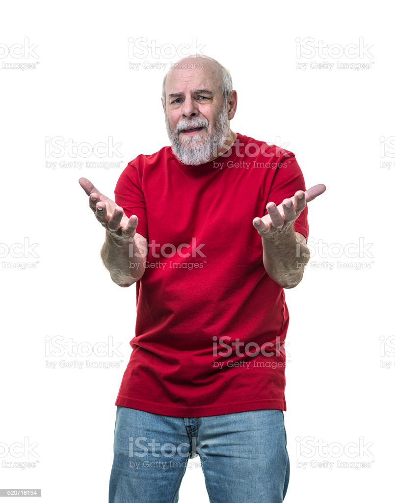 Distraught Pleading Senior Adult Redneck Man Arguing and Gesturing stock photo