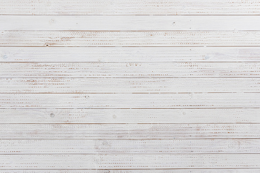 Wood floor boards / wall covering - Pine timber material, painted / treated in white stain, ideal for textured backgrounds with copy space, (Table, wall, floor, Aged Plank - Timber). Photographed on EOS R full frame system with premium lens for high resolution and quality.