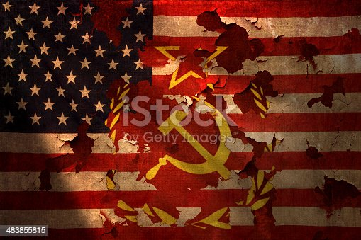 Distressed American Flag With Communism Symbol Showing Thru