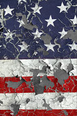 Distressed Chipped American Flag on concrete