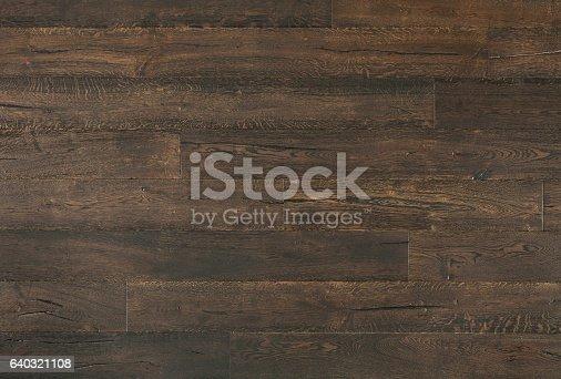 istock Distressed Dark Oak Textured Vintage Wood Background 640321108