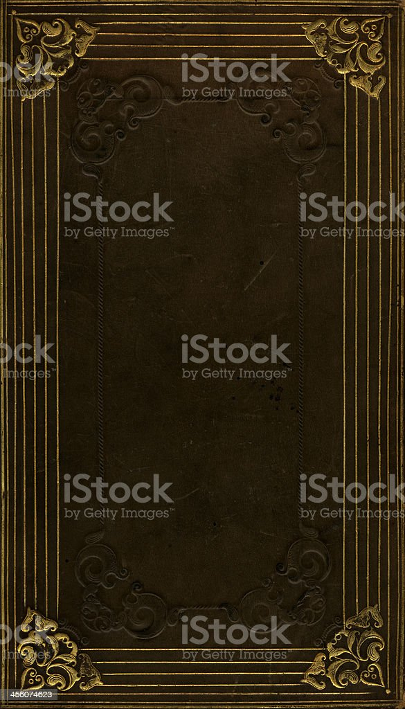 Distressed leather book cover stock photo