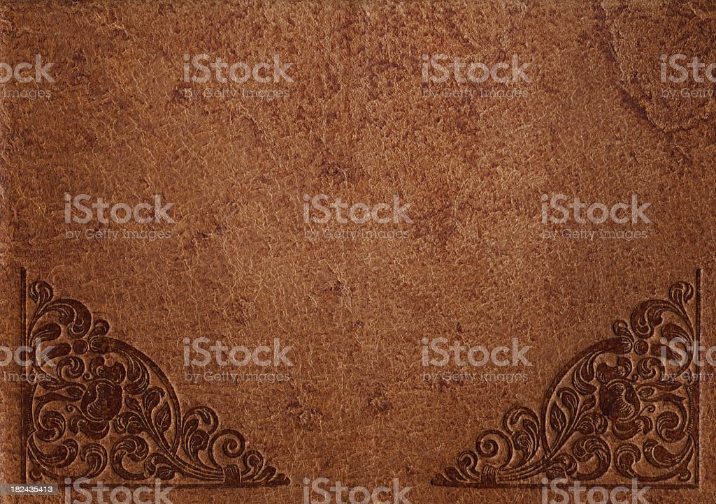 distressed leather with ornament royalty-free stock photo