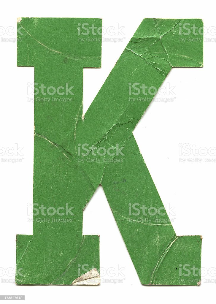 Distressed Letter K royalty-free stock photo