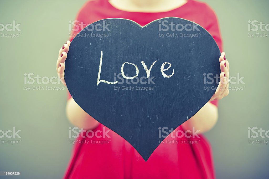 Distressed Love Heart Chalkboard Sign stock photo