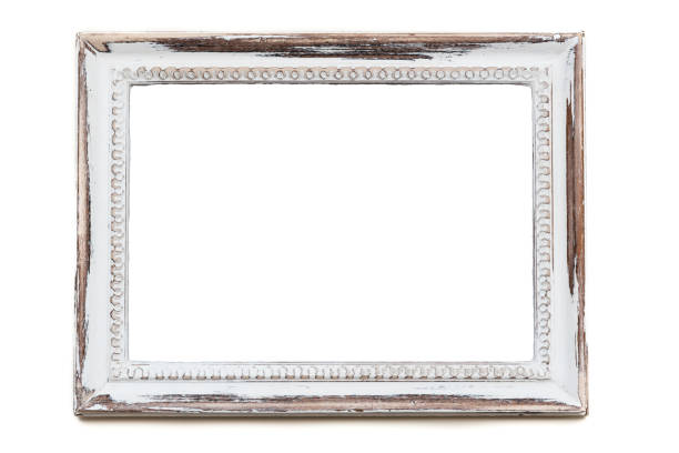 Distressed white painted picture frame stock photo