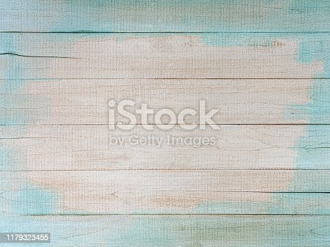 Old blank textured blue and white wooden board background with lots of grunge character, a great backdrop for copy space.