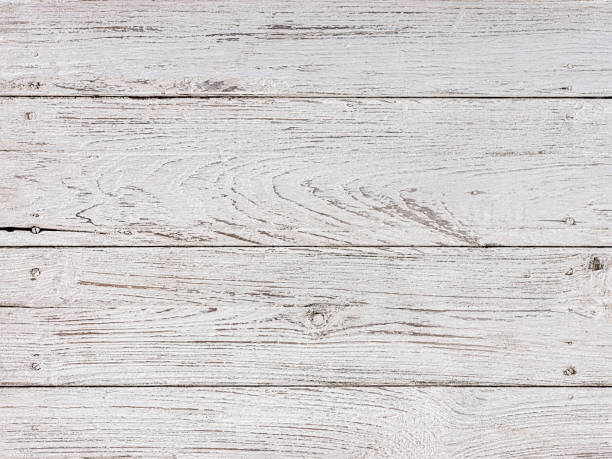 Distressed, worn, weathered, old, white wooden teak panel abstract background. stock photo