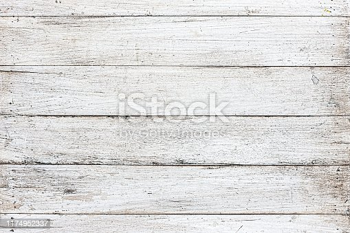 Very old blank, textured white wooden timber board background with lots of cracks and scratches that shows grunge effects, great backdrop for copy space.