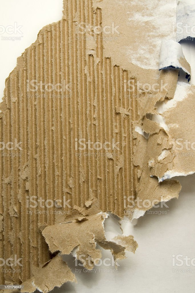 Distressed/Ripped Corrugated Cardboard stock photo