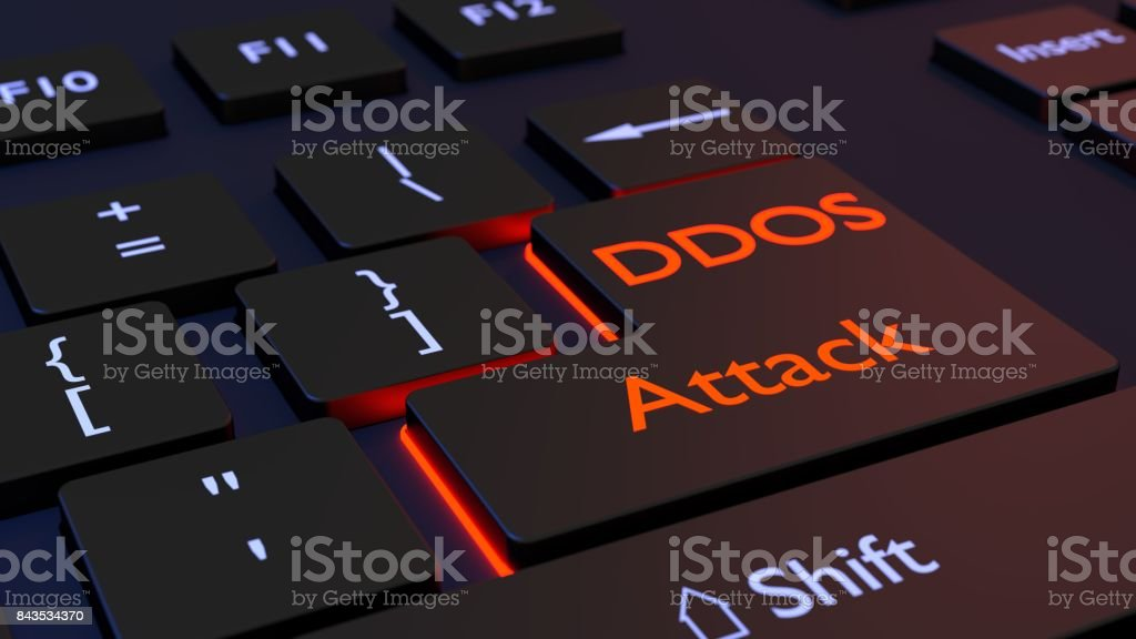 Distribuidos de denegación de teclado servicio negro con DDOS Intro - Foto de stock de Agrietado libre de derechos