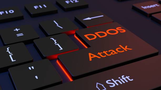 Distributed denial of service black keyboard with DDOS enter key stock photo