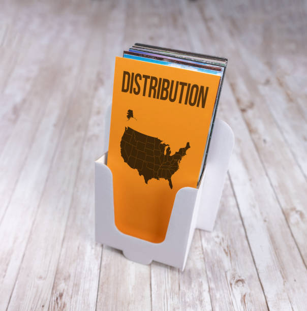 Distribution across the USA, leaflet holder with map stock photo