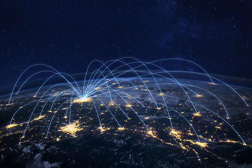 distribution and delivery concept, global business communication network, planet image from NASA