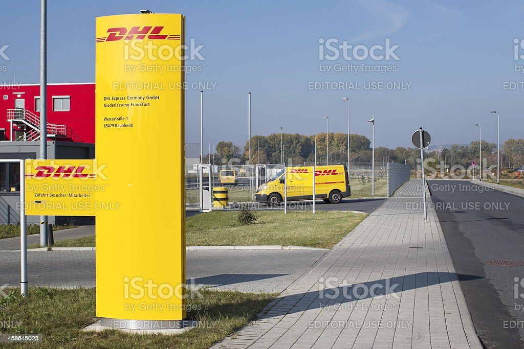 DHL distribution and logistics center stock photo