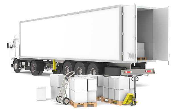 distribution. open trailer with pallets, boxes and trucks. - lorries unloading stock photos and pictures