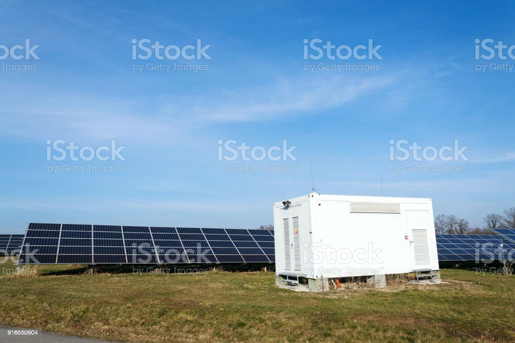 Verteilungspunkt an Solarzellen Photovoltaik-Kraftwerk, Energieinnovation – Foto