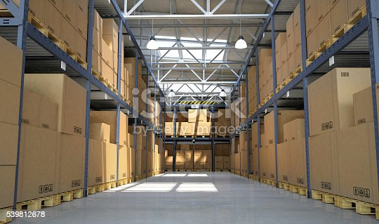 istock Distribution warehouse aisle with goods and cardboard boxes on shelves 539812678