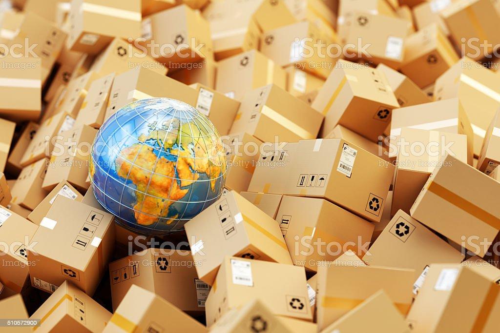 Almacén de distribución, paquete de envío internacional, global concepto de transporte de carga - Foto de stock de Almacén libre de derechos