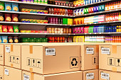 istock Distribution warehouse logistics, packaged parcels ready for shipment and delivery 941410386