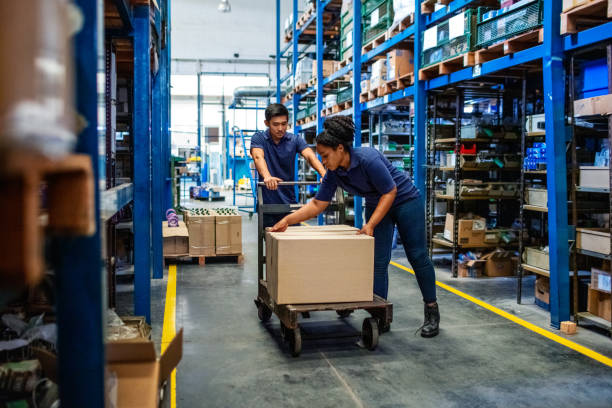 Distribution warehouse workers moving boxes in plant stock photo