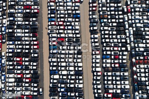 istock Distribution yard with new cars of different brands 1048126006