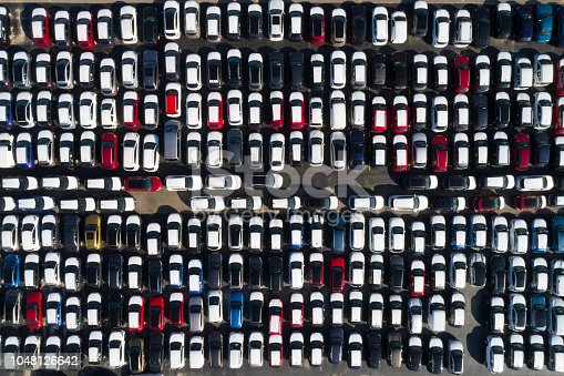 istock Distribution yard with new cars of different brands 1048126642