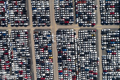 istock Distribution yard with new cars of different brands 1048128826