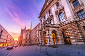 08 August 2019, Munchen, Germany: District Court building at sunset