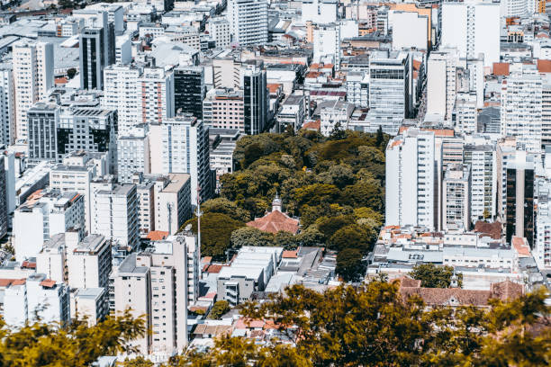 District in Brazilian city from high above stock photo