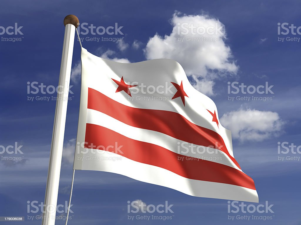 District of Columbia flag (with clipping path) stock photo