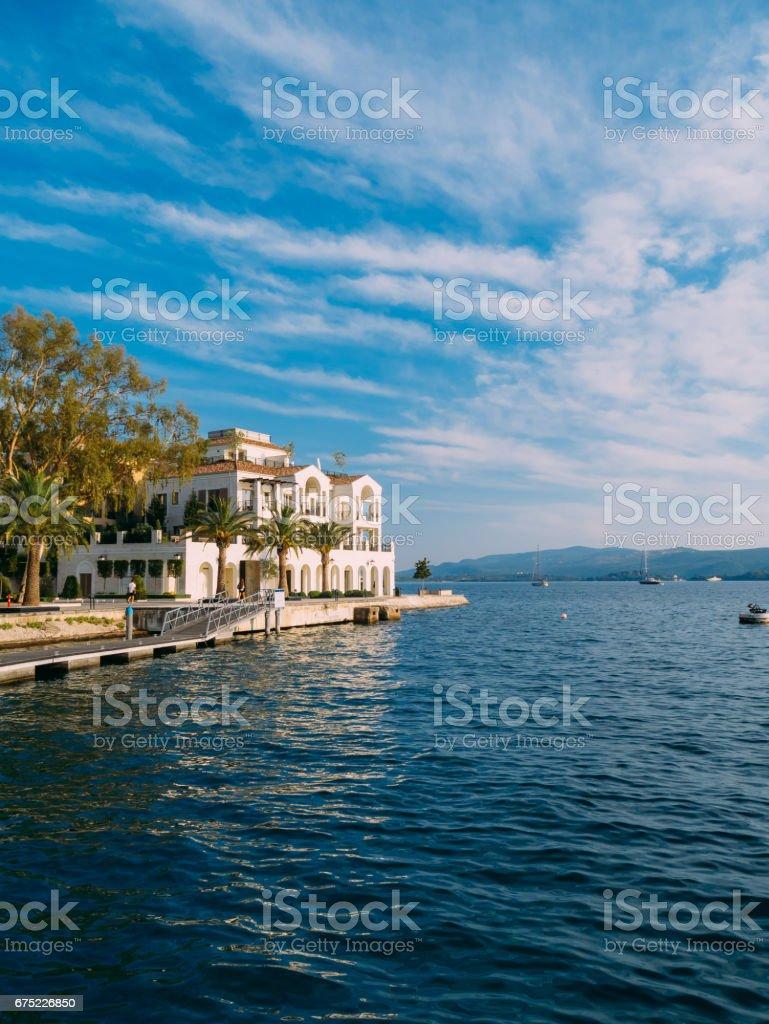 District Porto Montenegro, Elite cottages, villas by the sea, Ho royalty-free stock photo