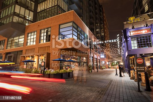 Washington DC, USA - June 21, 2018:  Bars and restaurants in the nightlife district by the harbour in Washington DC USA
