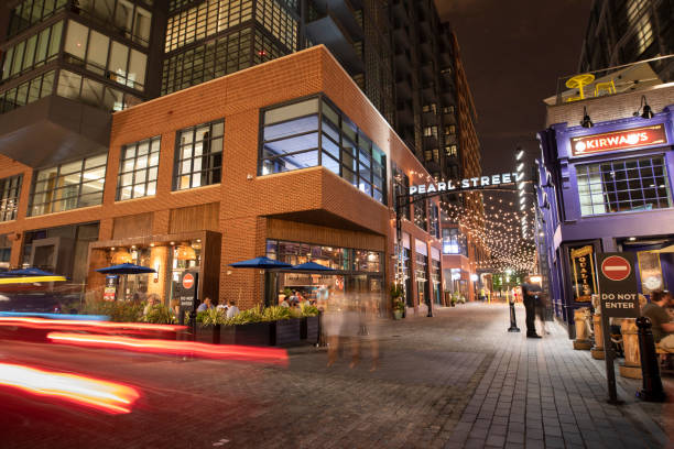 District Wharf entertainment area at night in Washington DC USA stock photo