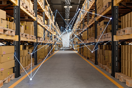 Distrubution Warehouse With Plexus. Remote Control With Mobile App And Technology Devices.