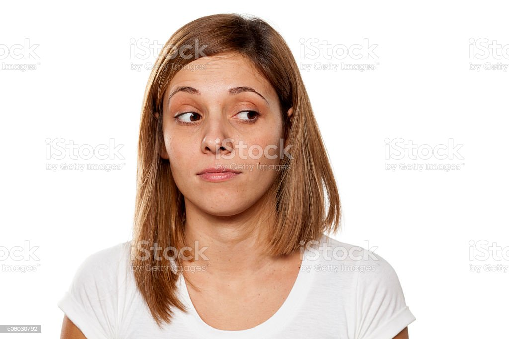 distrustful woman stock photo