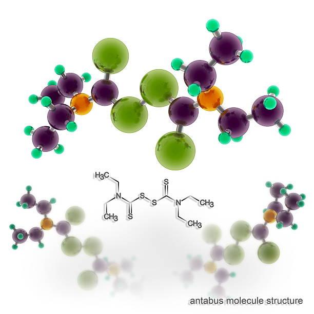 disulfiram (antabuse, anticol, esperal) cząsteczka struktury - enzym zdjęcia i obrazy z banku zdjęć