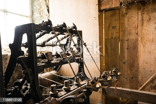 Old dusty machinery once used for creating tweed cloth in a looming shed on the Isle of Lewis, Outer Hebrides, Scotland, UK, Europe