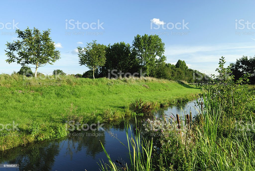 Ditch and dyke royalty-free stock photo