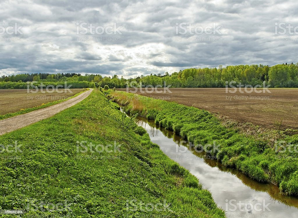 Ditch on the field. stock photo
