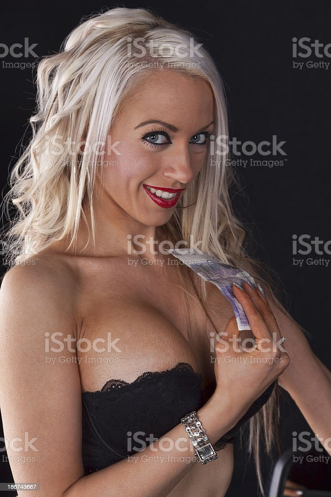 Ditzy Blonde With Spending Money stock photo