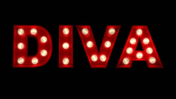 Diva .3D rendering of the word Diva written in glowing letters. diva human role stock pictures, royalty-free photos & images