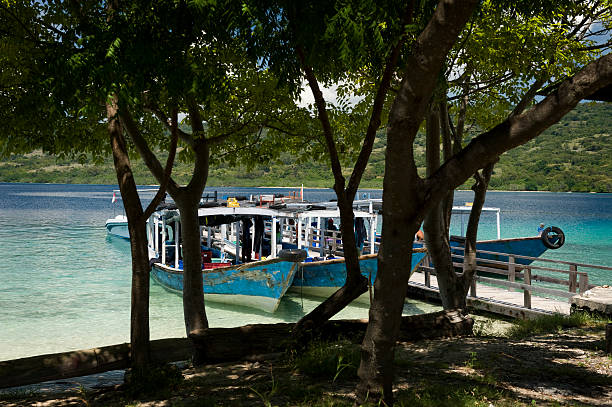 Dive Boats at Menjangan Island stock photo