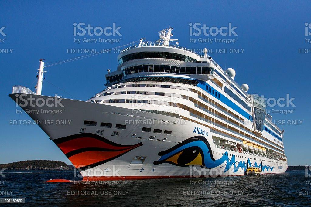 AIDA Dive Cruise Ship in Bar Harbor, USA, 2015 stock photo