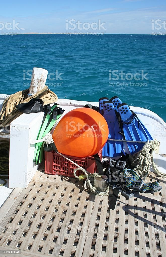 A beautiful day on a red sea dive boat : Istockphoto