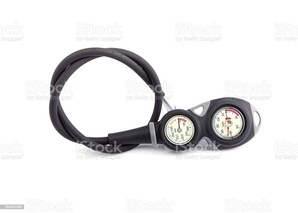 diver checking pressure royalty-free stock photo
