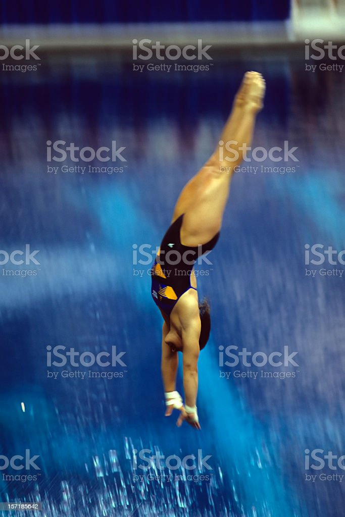 diver entering the water royalty-free stock photo