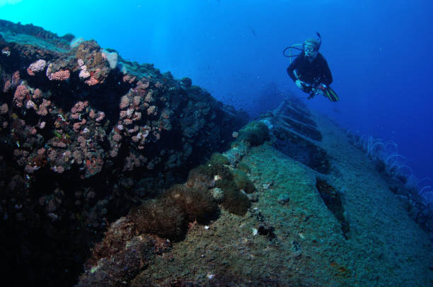 Diver exploring the SS Yongala shipwreck, Townsville, Great Barrier Reef, Australia