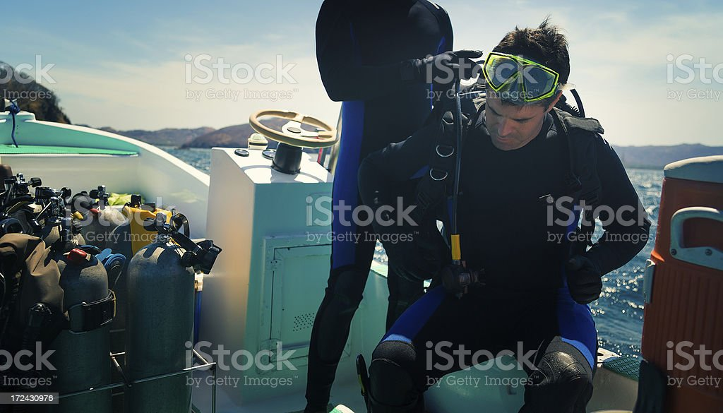 diver getting ready royalty-free stock photo