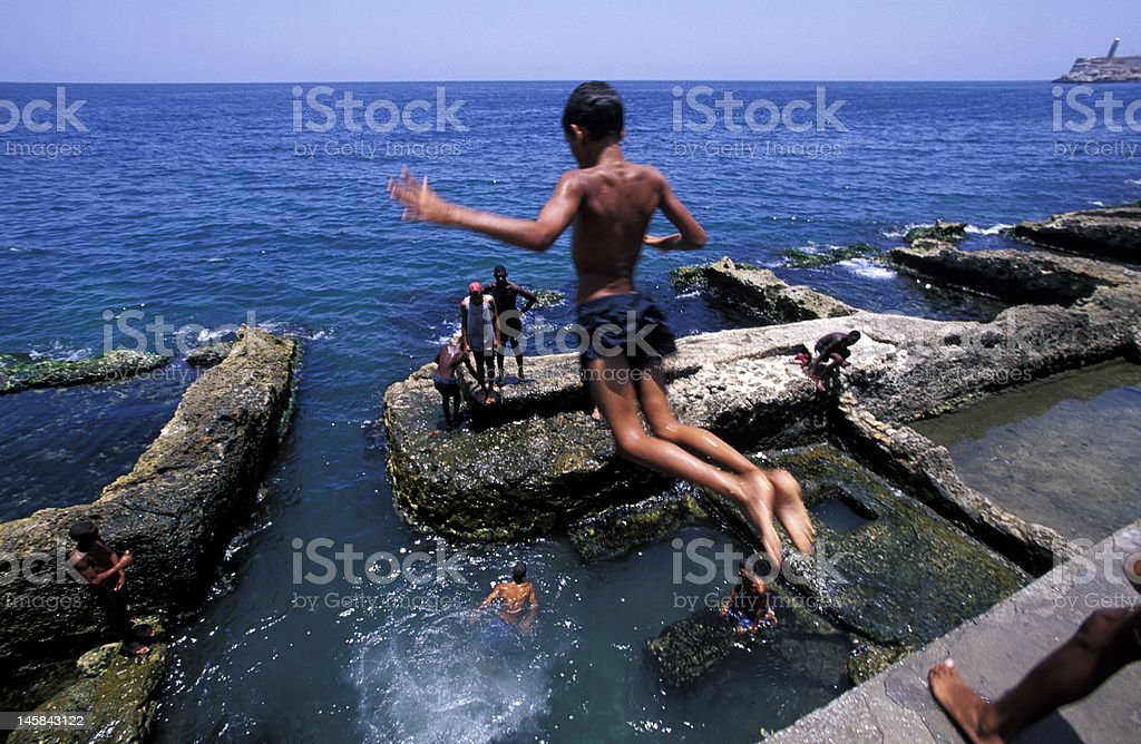 diver in Havana Malecon royalty-free stock photo